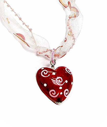 Linpeng Hand Painted Glass Heart Pendant Ribbon Necklace W/Magnetic ()