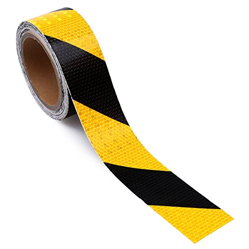 2'' X 30 Feet Reflective Safety Hazard Caution Tape Yellow And Black by AISEY