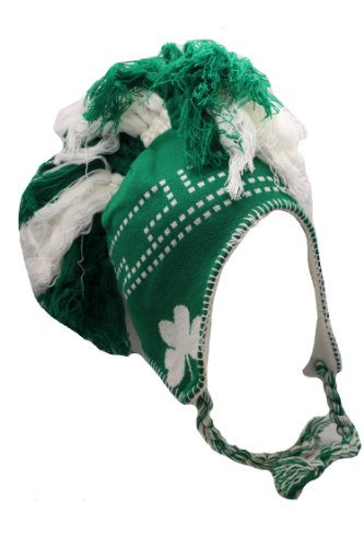 Irish Dots and Shamrocks Mohawk Green and White Tassel Knit Cap W/pom