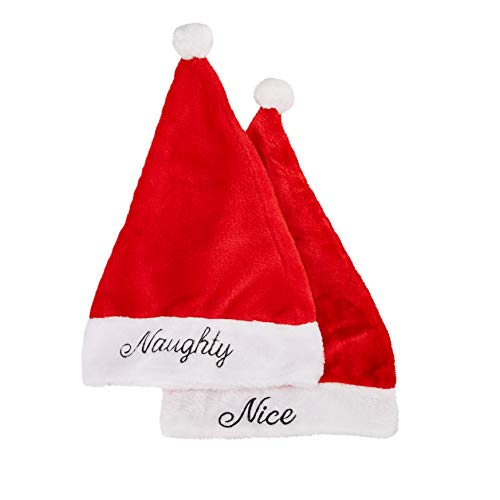 Naughty or Nice Santa Hats - 2-Pack Christmas Party Hats, Plush Felt Red and White With Pom-Pom Ball, Festive Holiday Novelty Accessories For Adults, 11 x 17 Inches