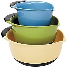 OXO 1169600 Good Grips 3-Piece Mixing Bowl Set, Blue/Green/Yellow
