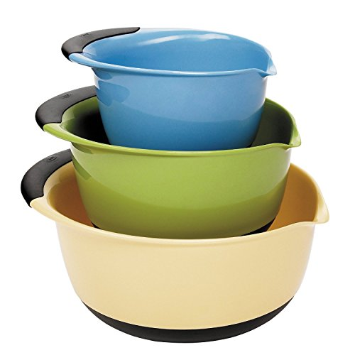 (OXO Good Grips 3-piece Mixing Bowl Set, White Bowls with Blue/Green/Brown Handles)