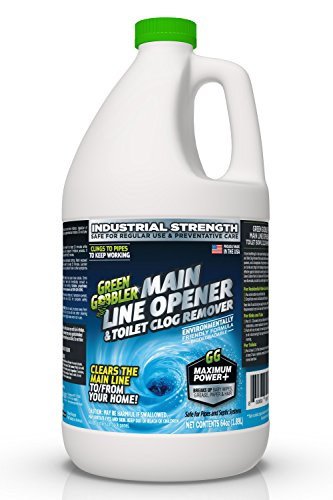 Green Gobbler Ultimate Main Drain Opener + Drain Cleaner + Hair Clog Remover - 64 oz (Main Lines, Sinks, Tubs, Toilets, Showers, Kitchen Sinks) (Best Way To Clear Blocked Drains)