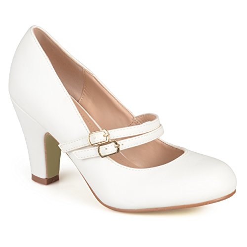 (Journee Collection Womens Matte Finish Classic Mary Jane Pumps White, 8.5 Regular US)