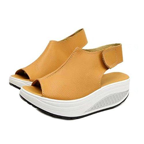 Sandalias de las sandalias de tacón de cuña de las mujeres sandalias de verano de la nueva boca de pescado sacudiendo los zapatos sandalias gruesas zapatos de gran tamaño 4 colores GAOLIXIA Yellow