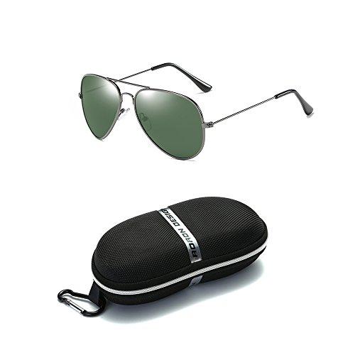 Unisex Men Women Classic Aviator Metal Designer Sunglasses with Case (Gray) - 9