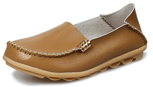 labato Women's Cowhide Leather Casual Flat Driving Loafers Driving Moccasin Shoes (Moccasins Cowhide Leather)
