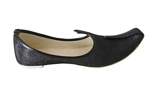 KALRA Creations Herren Schuhe Traditionelle Rexin indischen Casual Schwarz