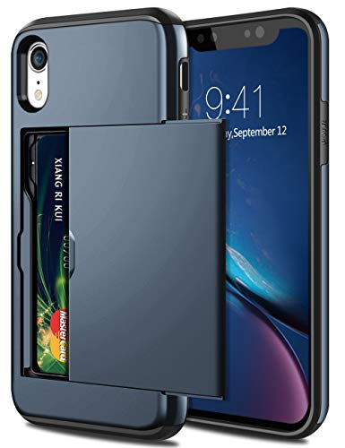 SAMONPOW Case for iPhone XR Hybrid iPhone XR Wallet Case Card Holder Shell Heavy Duty Anti Scratch Dual Layer Hard PC Soft Rubber Bumper Cover for iPhone XR 6.1 inch Dark Blue