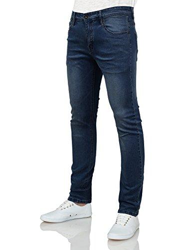 IDARBI Mens Basic Casual Cotton Skinny-Fit Jeans Darkwash 30