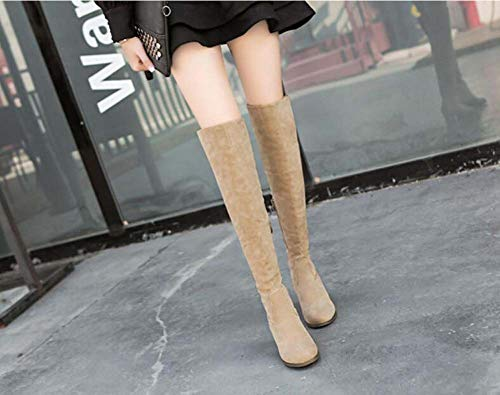 Toe Chunkly Knight EU Beige 49 High Heel Boots Round Shoes Boots 35 Knee Women Casual Zipper Dress Boot 7Cm Size qxwIP4Z4n8
