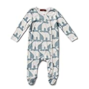 Milkbarn Organic Cotton Long Sleeve Footed Romper (Blue Elephant, 0-3 Months)