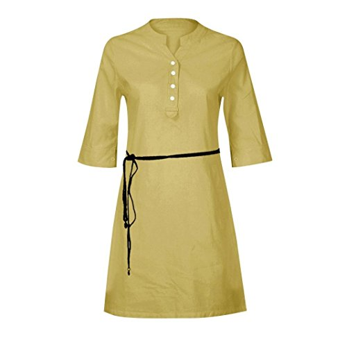 Sleeve Dress V Dresses KIMODO Women Maxi Half Shirt Slim Neck Pocket Casual Khaki Buttons rn7q7Aw