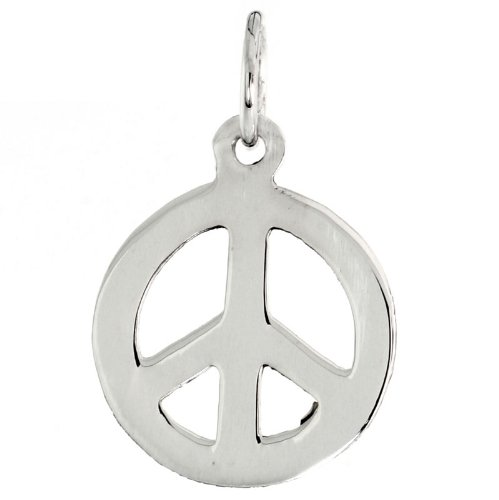 Sterling Silver Small Peace Sign Pendant, with 18 inch Thin Box Chain, 3/4 inch long