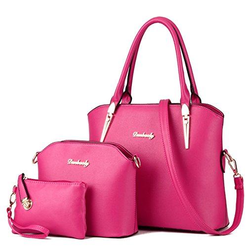 Tibes Elegante bolso de piel de imitación mango superior 4pcs set Satchel Bolso B Rosa de rosa