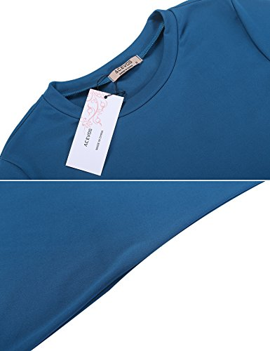 Acevog shirt Abito Donna Allentato Tunica Vestito Corte Dall'oscillazione T Maniche Blu Casuale g6qgFUS