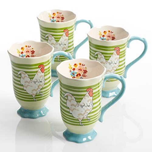 (Urban Market by Gibson 125102.04RM Life on the Farm Footed, 4 Pack, Rooster Tea Cups, Green)