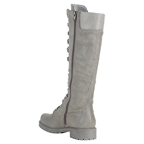 Stiefelparadies Damen Schuhe Schnürstiefel Biker Boots Schnallen Metallic  Stiefel Flandell Hellgrau Hellgrau Camiri ... c0cb99d775