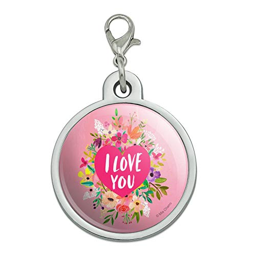 - GRAPHICS & MORE I Love You Flower Heart Wreath Chrome Plated Metal Pet Dog Cat ID Tag - Large