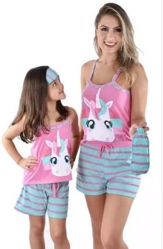 Kit Baby Doll Pijama Unicornio Mãe e Filha Adulto Infantil Curto Com Tapa Olho | Amazon.com.br