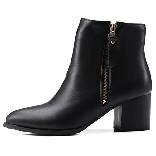 Smilice Size Size Booties Small Large Pointed Women Block Boots Ankle amp; Black Zipper Heel Toe rUwnprqO