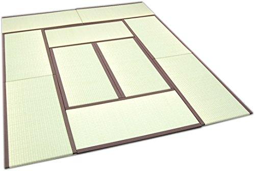 TATAM Tatami Mat Japanese Traditional 1/4 Size (17x34 inch) 10 piece set Unit mattress Made in Japan (Brown)
