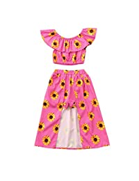 datework Toddler Baby Girls Off Shoulder Sunflower Print Tops+Skirt Pantskirt Outfits Set