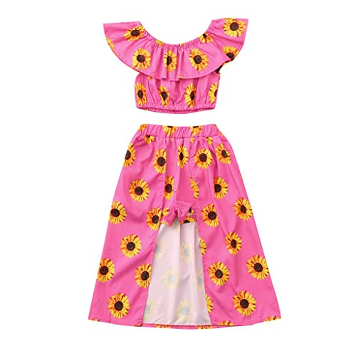WOCACHI Toddler Baby Girls Off Shoulder Sunflower Print Tops+Skirt Pantskirt Outfits Set 0-3M 0-6M 3-6 Mos 6-9M 9-12M 6-12M 12-18M 18-24M 0-3T 0-24 Months 2 Years and Up 2T 3T -