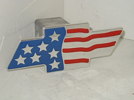 Amazon.com: Chevy Flag Hitch Cover Chevy Bow Tie Flag Hitchcover ...