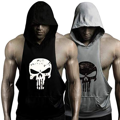 GZXISI Mens Skull Print Stringer Bodybuilding Gym Tank Tops Workout Fitness Vest (2 Pack:Black Hoodie,Gray Hoodie, X-Large)