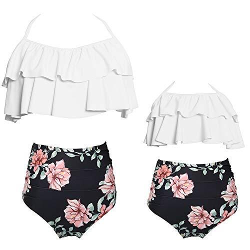 Toddler Baby Girls Bikini Set Family Matching Mummy and Me Swimsuit Swimwear (Girl 2-3year, White Balck) (Best Ski Suits 2019)