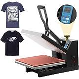 "EOSAGA Pro 15"" X 15"" Digital Heat Press Shirt Press Clamshell Transfer Machine Sublimation Heat Pressing Machine for T-Shirt (Black 15×15)"