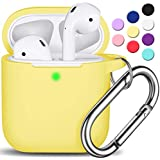 AirPods Case Cover with Keychain, Full Protective Silicone AirPods Accessories Skin Cover for Women Girl with Apple AirPods Wireless Charging Case,Front LED Visible-Yellow