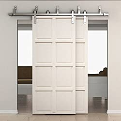 SMARTSTANDARD 6.6ft Bypass Double Door Sliding Barn Door Hardware (Stainless steel) (J Shape Hangers) (2 x6.6 foot Rails)