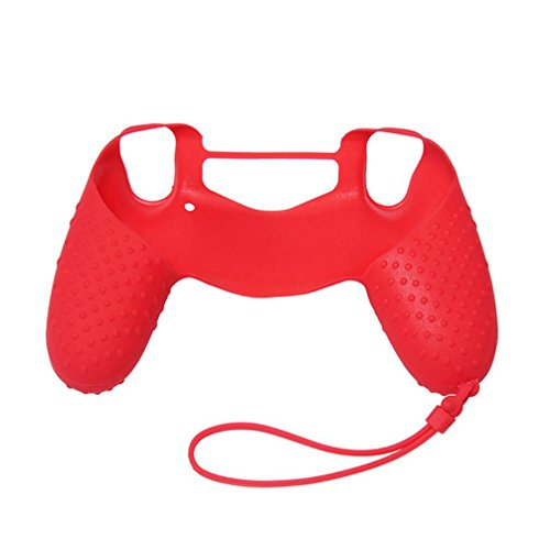 Price comparison product image Soft Anti-slip Silicone Cover Skin Protector for PS4 Controller (Red)