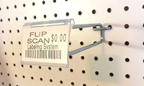 (100 PACK) 6 Inch Flip Scan Metal Peg Hooks w/Label Holder 1/8'' to 1/4'' Pegboard by STRIKE (Image #4)