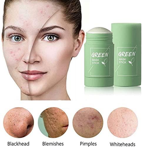 Green Tea Clay Mask Stick, 2 Pack Green Tea Cleansing Mask Stick, Green Mask Stick for Face Moisturizes Oil Control, Deep Clean Pore, Improves Skin,Blackhead Remover, for All Skin Types Men Women
