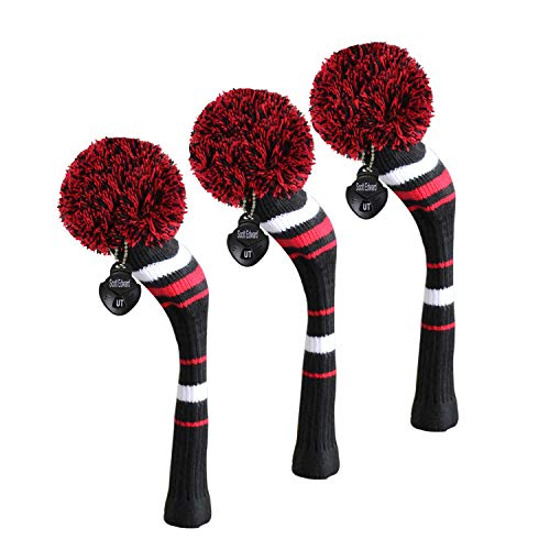(Scott Edward Black White Red Stripes Style, Golf Hybrid/Utilities Head Cover, 3 pcs Packed, Rotatable Number Tags)
