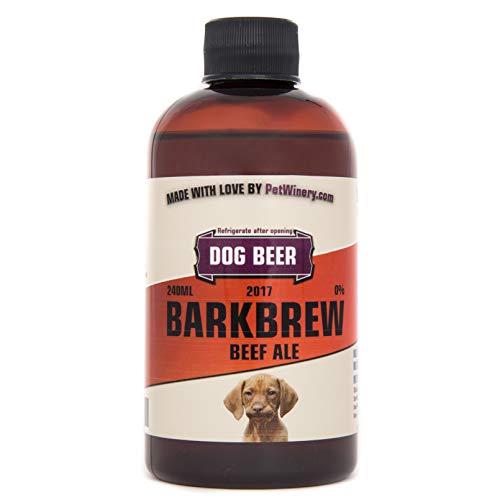 Pet Winery BarkBrew All-Natural Dog Beer (8 Ounce Bottle of Beef Ale) Non-Alcoholic, Liquid Dog Treat | Use As Food Topper, Freeze, or As Is | Dog Birthday, Gift For Dog Lover, or Dog Mom Gift