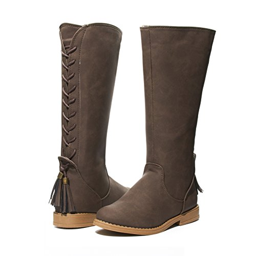 Sara Z Kids Girls Western Lace Up Back Tassel Knee High Cut Riding Boots With Side Zip Brown Size 2