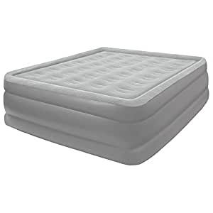 Pure Comfort Flock Top Air Mattress, Raised Profile Full Sized Bed, Grey