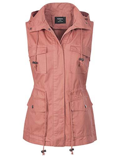 (MixMatchy Women's Drawstring Lightweight Loose Fit Sleeveless Vest Utility Jacket Mauve 3XL )
