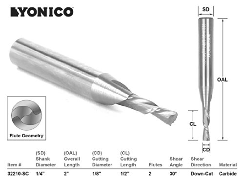 Yonico 32210-SC CNC Router Bit Down Cut Solid Carbide with 1/8-Inch X 1/2-Inch X 1/4-Inch X 2-Inch 1/4-Inch Shank