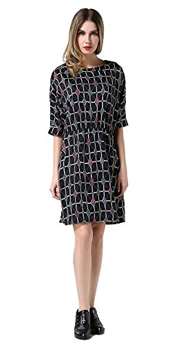 Floral Neck Half O Laruise Mehrfarbig Sleeve Damen Dress xq7wWaX