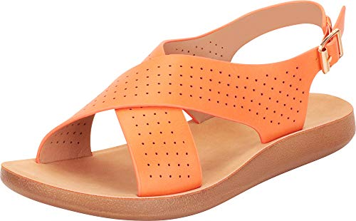 Cambridge Select Women's Crisscross Strappy Laser Cutout Perforated Flat Sandal,8.5 B(M) US,Orange ()