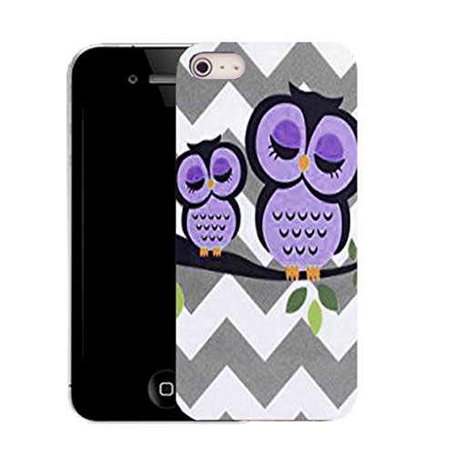 Mobile Case Mate IPhone 4 clip on Silicone Coque couverture case cover Pare-chocs + STYLET - purple branch owl pattern (SILICON)