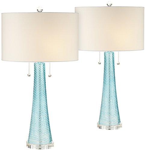 - Possini Euro Design Miriam Blue Glass Table Lamp Set of 2