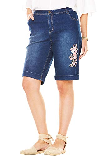 Woman Within Women's Plus Size Stretch Jean Bermuda Short - Flower Embroidery, 12 W