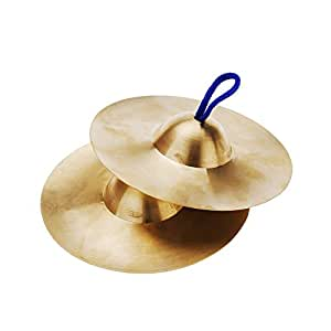 Nrpfell 15cm / 5.9in Small Kids Children Copper Hand Cymbals Gong Band Rhythm Percussion Musical Instrument Toy