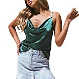 iSkylie Women's Boho Camisole Sexy V-Neck Blouse Solid Color Adjustable Cross Vest Spaghetti Strap T-Shirt Summer Sleeveless Casual Tanks Tops (Army Green, M)